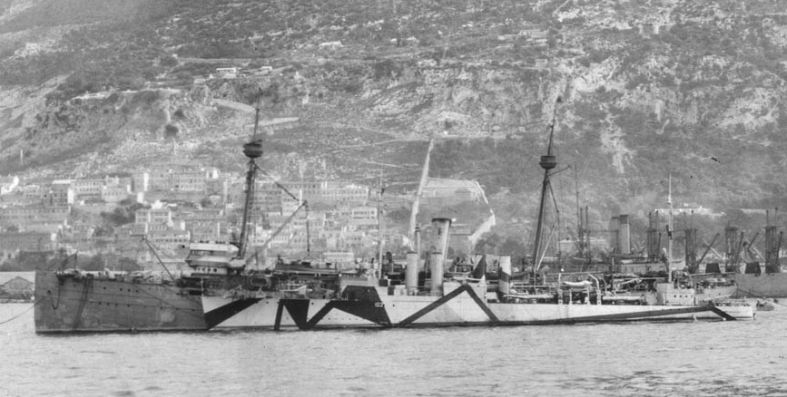 Buffalo at Gibraltar circa December 1918, with Schley (Destroyer No. 103) alongside and the collier Jupiter (Fuel Ship No. 3) in the background. Note that Schley is still wearing pattern camouflage, while Buffalo has been repainted into overall gray. (Naval History and Heritage Command Photograph NH 56643)