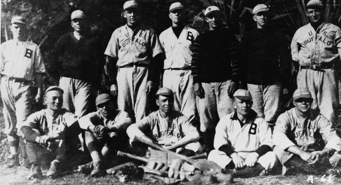 Buffalo's baseball team ashore in the Azores in March 1919. Photographed by St. Jacques. (Naval History and Heritage Command Photograph NH 94998)