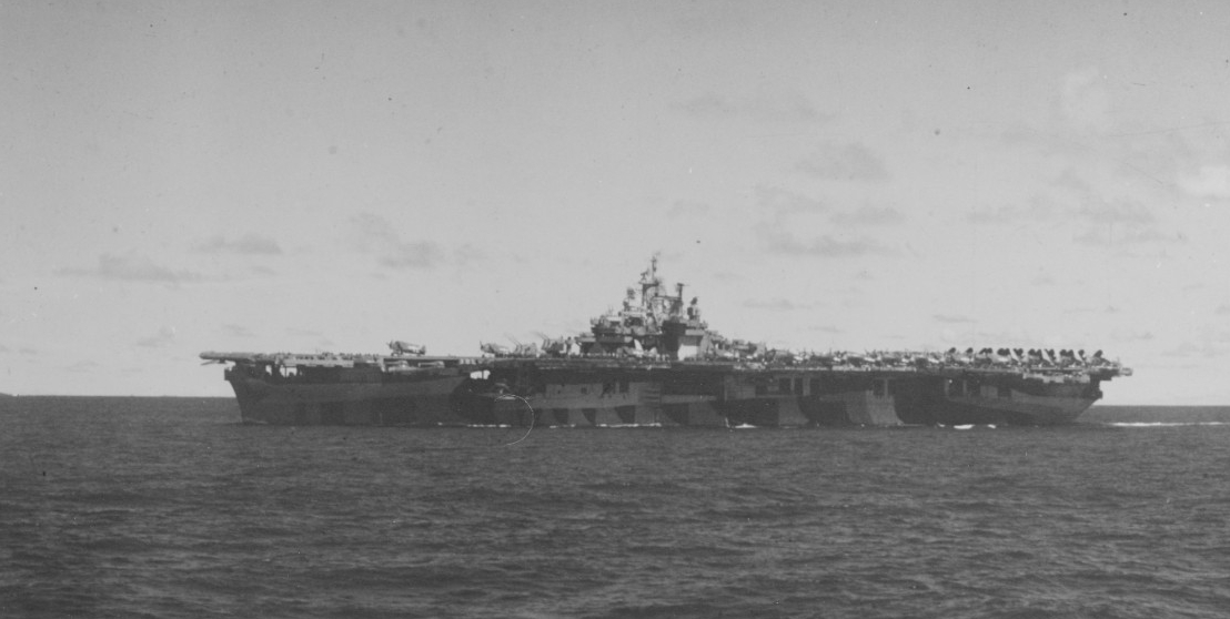 Bunker Hill en route to strike the Japanese in the Palau Islands, 27 March 1944. She is painted in camouflage Measure 33, Design 3A. (U.S. Navy Photograph 80-G-K-1560, National Archives and Records Administration, Still Pictures Division, College Park, Md.)