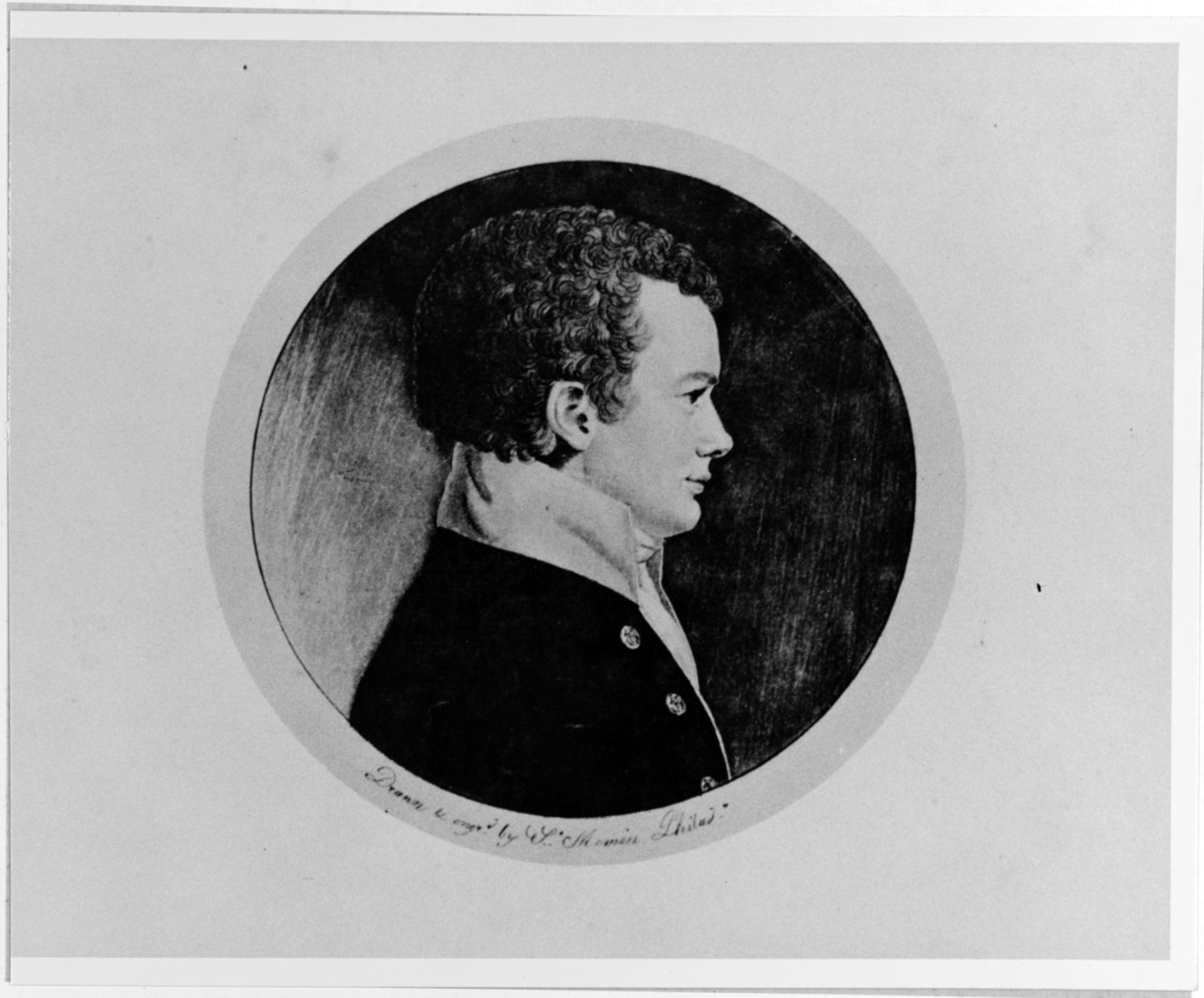 Midshipman James R. Caldwell, engraved portrait by Charles Ste. Memin of Philadelphia, 1799. (Naval History and Heritage Command Photograph NH 51575)