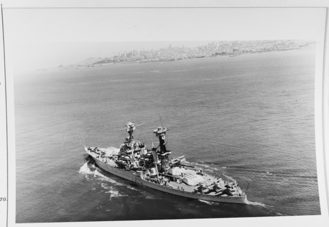 California passes beneath the Golden Gate Bridge as she enters San Francisco Bay, circa January–June 1937. (Naval History and Heritage Command Photograph NH 73001)