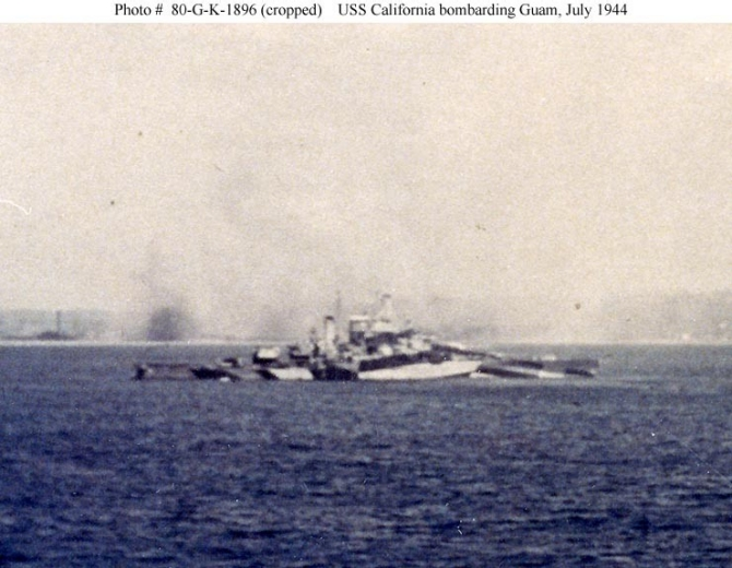 California pounds the Japanese troops on Guam, July 1944. S.C. Rotman, a sailor on board New Mexico (BB-40), snaps the picture from his ship during the battle. The battleship is painted in a distinctive camouflage pattern, likely Measure 32, Design 16-D. (Courtesy of S.C. Rotman, U.S. Navy Photograph NH 80-G-K-1896, National Archives and Records Administration, Still Pictures Branch, College Park, Md.)