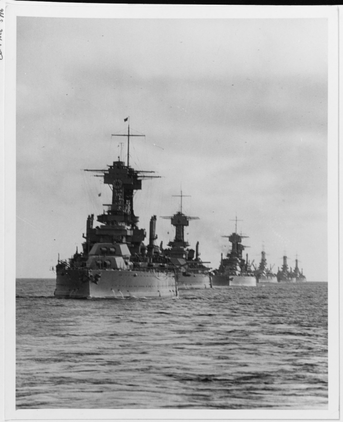 California participated in many exercises during the 1920s and here leads a line of battleships through a deceptively calm sea off the California coast. The three ships next in line (in no particular order) are believed to be Colorado (BB-45), Maryland (BB-46), and West Virginia (BB-48), followed by Tennessee (BB-43) and several older battlewagons. (U.S. Navy Photograph 80-G-695093, National Archives and Records Administration, Still Pictures Branch, College Park, Md.)