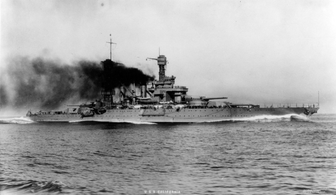 "The ship makes smoke and churns through the placid Pacific with the ""bone in her teeth"" while working up, circa 1921. (O.W. Waterman of San Diego, Calif., Collection of Lt. Cmdr. Abraham DeSomer, donated by Myles DeSomer, 1975, Naval History and Heritage Command Photograph NH 82114)"