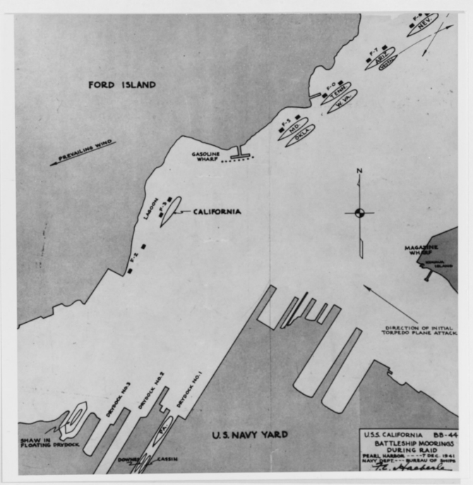 "Following the Japanese attack of 7 December 1941, the Bureau of Ships prepares this chart showing California's position on that morning, compiled on 28 November 1942. The plan shows California at Berth F-3 along the southern side of Ford Island -- just left of the center of the picture -- though does not indicate all of the ships in the harbor. The chart also shows the directions that Nevada (BB-36) and repair ship Vestal (AR-4) -- both to the upper right -- take during the battle to attempt to escape the attackers, and to the lower right the first wave of enemy Nakajima B5N2 Type 97 carrier attack planes -- labeled ""torpedo planes"" -- that savage Battleship Row. (War Damage Report No. 21 U.S.S. California Torpedo and Bomb Damage, December 7, 1941 Pearl Harbor, Plate I, Collection of Vice Adm. Homer N. Wallin, donated in 1975, Naval History and Heritage Command Photograph NH 83108)"