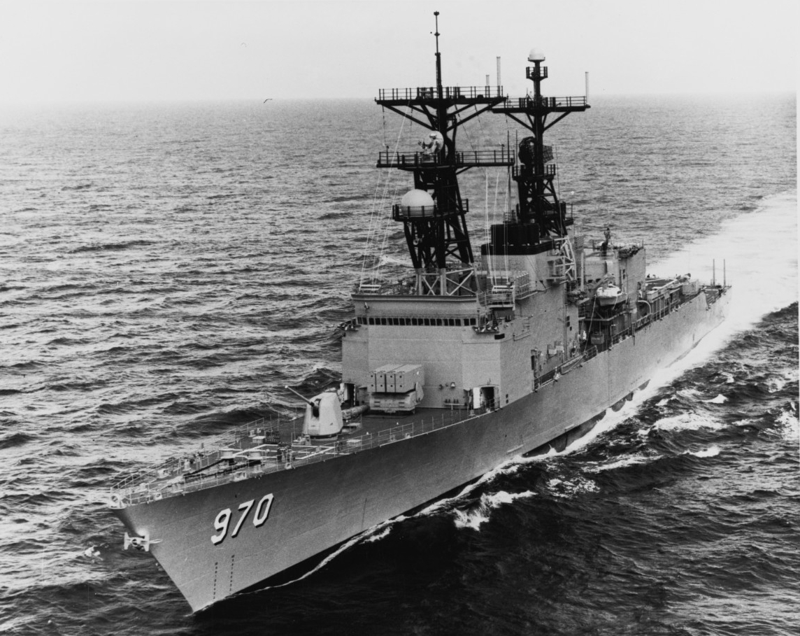Caron (DD-970) underway in the Gulf of Mexico, October 1977. (Naval History and Heritage Command Photograph NH 106890)