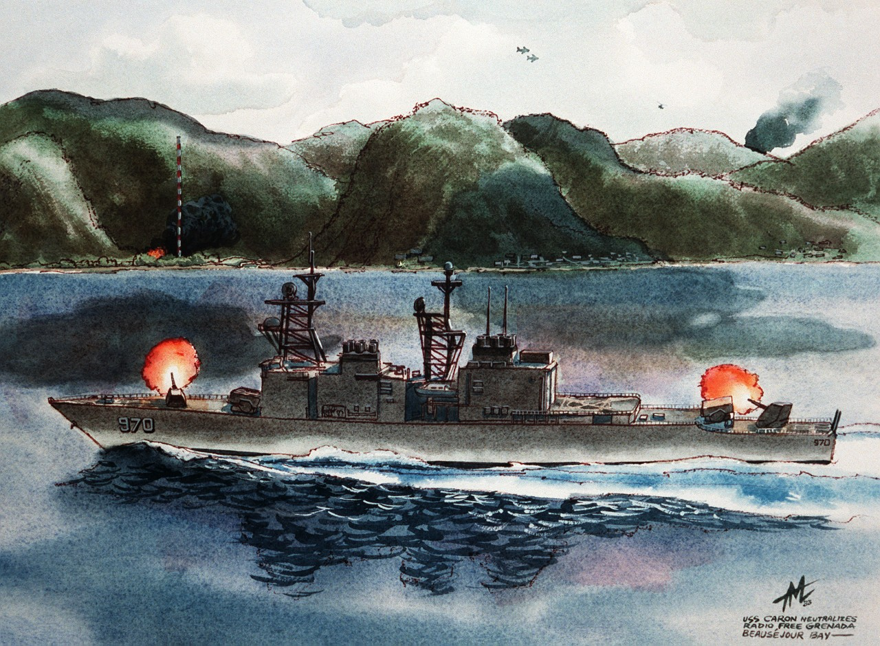 """USS Caron Neutralizes Radio Free Grenada – Beausejour Bay."" (U.S. Navy Photograph DN-SC-85-07100 of artwork by unknown artist dated 1983, National Archives and Records Administration, Still Pictures Division, College Park, Md.)"