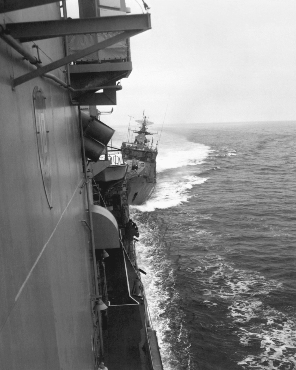 Exercising the right of innocent passage through Soviet territorial waters in the Black Sea, Caron is rammed in the stern by the bow of the Soviet Mirka II class light frigate SKR-6 (FFL.824), 12 February 1988. (U.S. Navy Photograph DN-SN-92-00300, National Archives and Records Administration, Still Pictures Division, College Park, Md.)