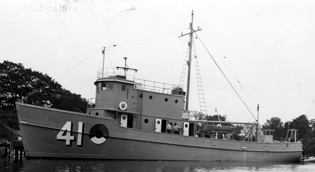 Chachalaca at her building yard, 28 July 1941. (U.S. Navy Bureau of Ships Photograph 19-LCM-24954, National Archives and Records Administration, Still Pictures Division, College Park, Md.)