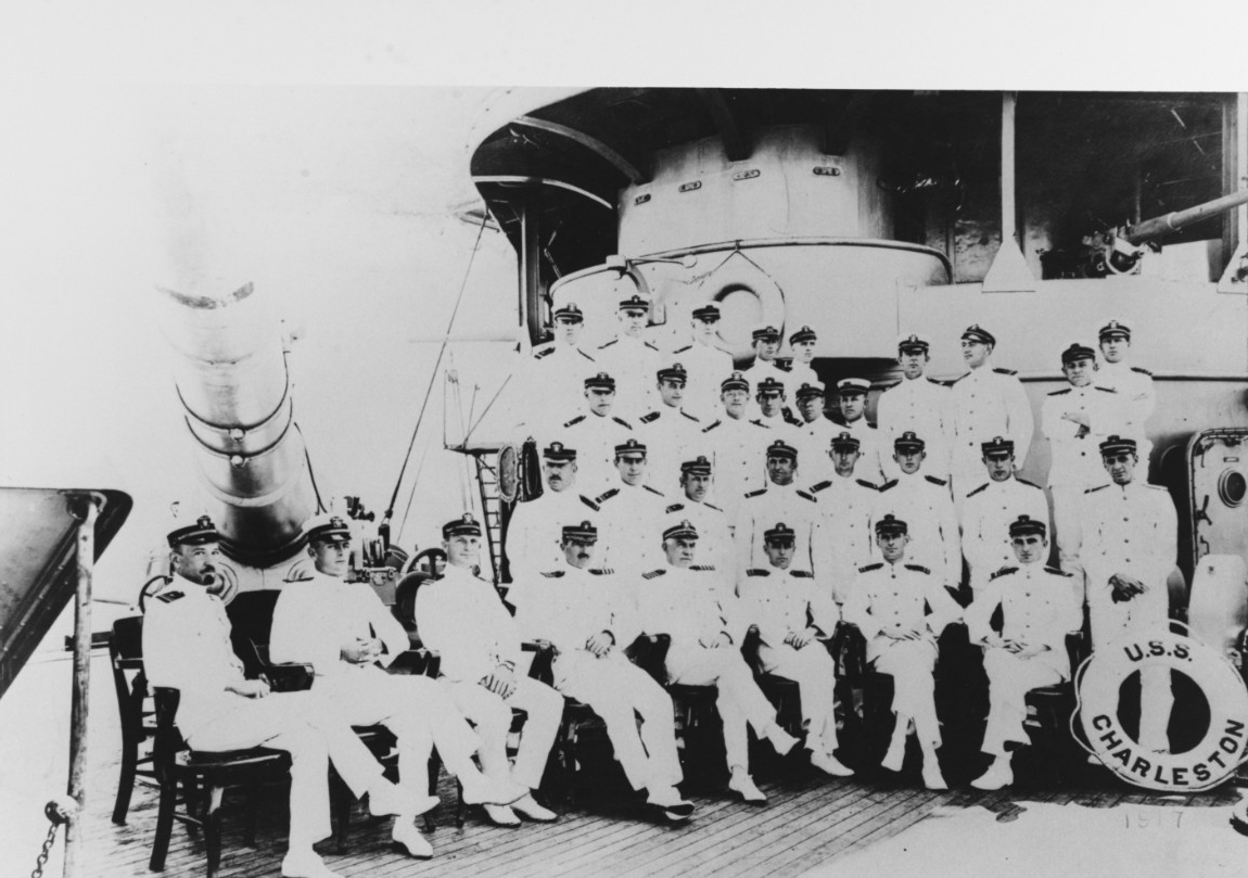 A view of Charleston's officers snapped during World War I, circa 1917. Rear Adm. Hilary P. Jones, Commander, Division 1, Squadron 1, Cruiser Force, Atlantic Fleet, is in the center of the first row. (Naval History and Heritage Command Photograph NH 83743)