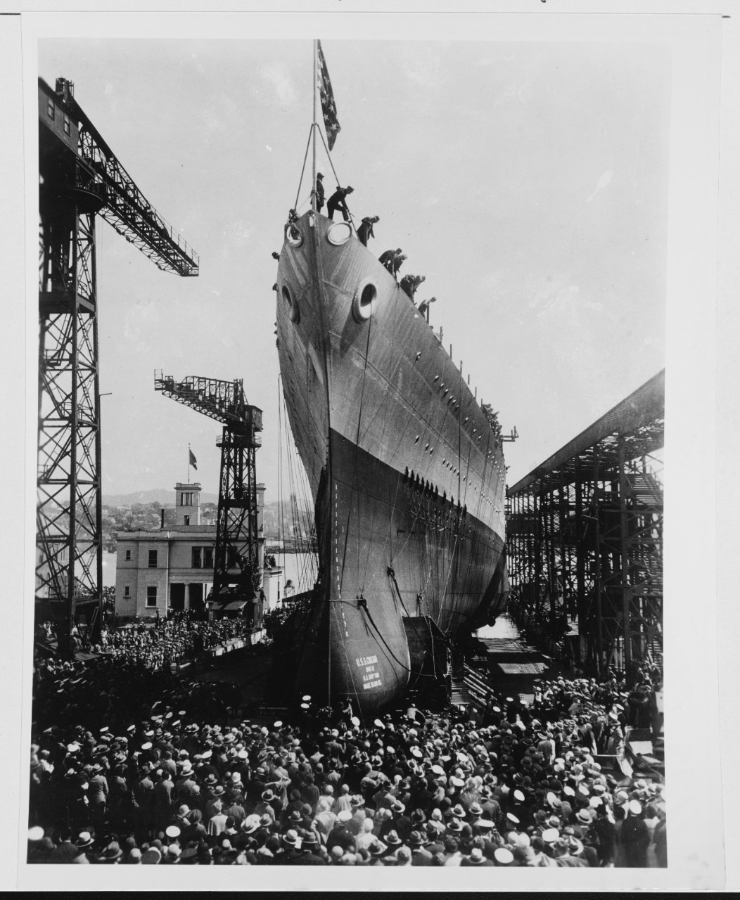 Chicago is launched at Mare Island Navy Yard, 10 April 1930. (Naval History and Heritage Command Photograph NH 70790)