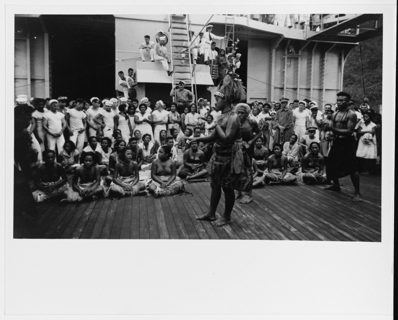 A native dancer welcomes Chicago and her ship's company during the ship's shakedown cruise at Papeete, Tahiti, 1931. (Courtesy of Wiley H. Smith, Naval History and Heritage Command Photograph NH 93460)