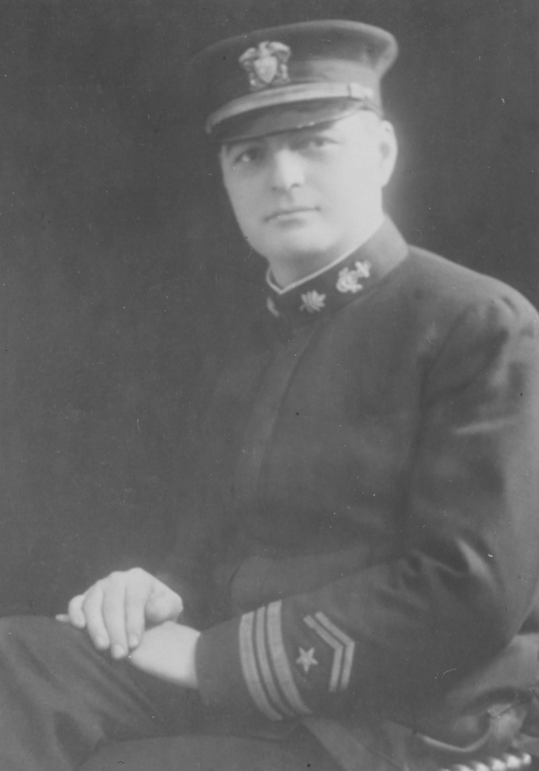 Lt. Cmdr. Daniel A. J. Sullivan, USNRF, 1920. Note the overseas service chevrons on his uniform sleeve. (Naval History and Heritage Command Photograph NH 44173)
