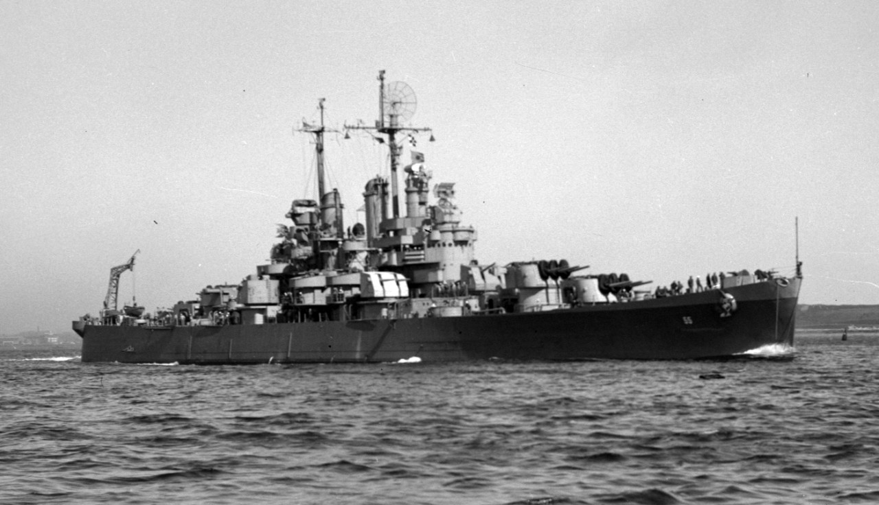 Cleveland in her last configuration, 27 March 1946, following extensive overhaul at Boston Naval Shipyard. (U.S. Navy Bureau of Ships Photograph BS 93532, National Archives and Records Administration, Still Pictures Branch, College Park, Md.)