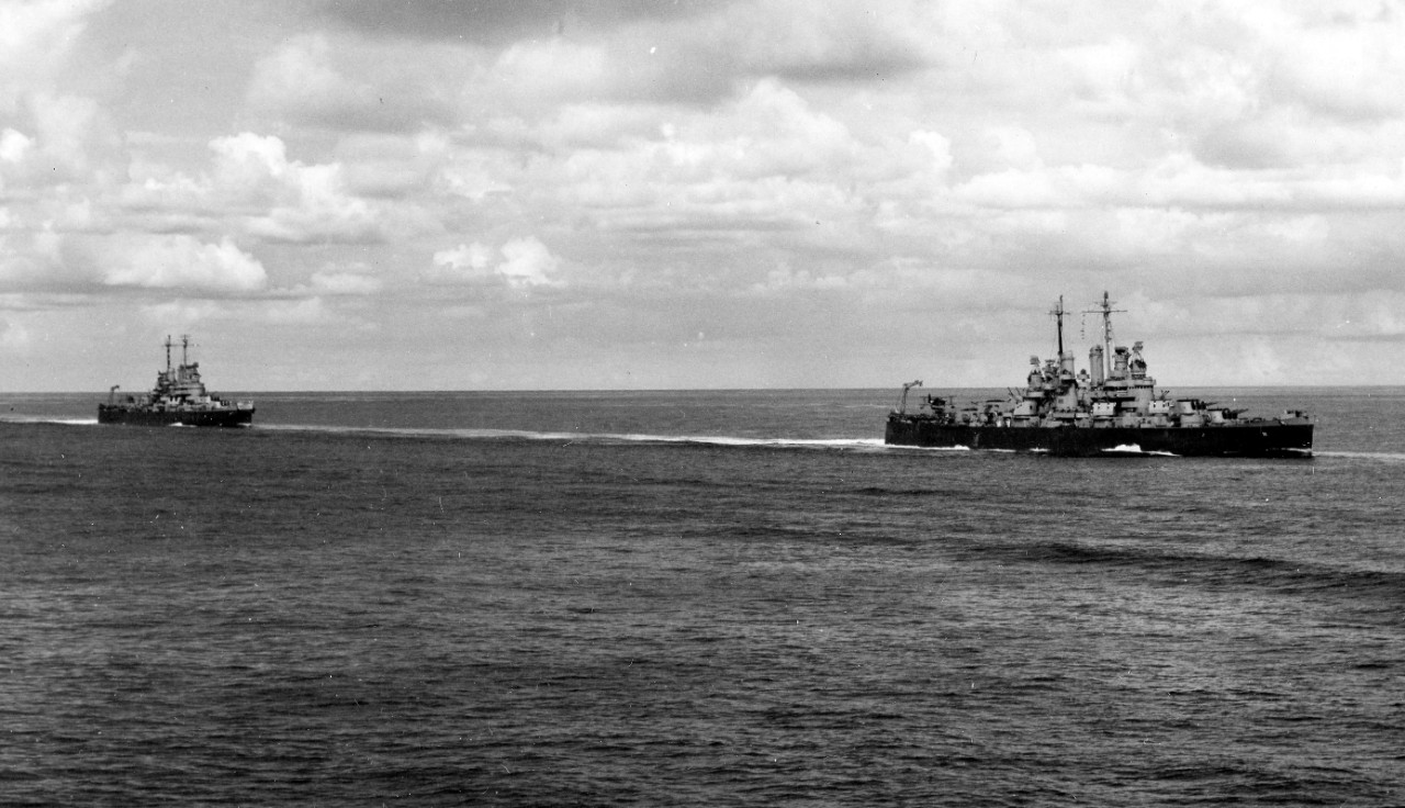 Cruiser Division 12 en route to Port Purvis Anchorage, Florida Island. Cleveland (right) and Columbia (left) as seen from Montpelier, 17 January 1944. (U.S. Navy Photograph 80-G-232109, National Archives and Records Administration, Still Pictures Branch, College Park, Md.)