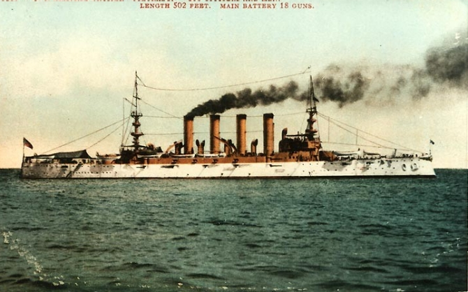 Colorado circa 1905–1908, and published on a color-tinted postal card by Edward H. Mitchell, San Francisco, Calif. (Courtesy of Cmdr. Donald J. Robinson, 1983, U.S. Navy Photograph NH 101233-KN, Photographic Section, Naval History and Heritage Command)