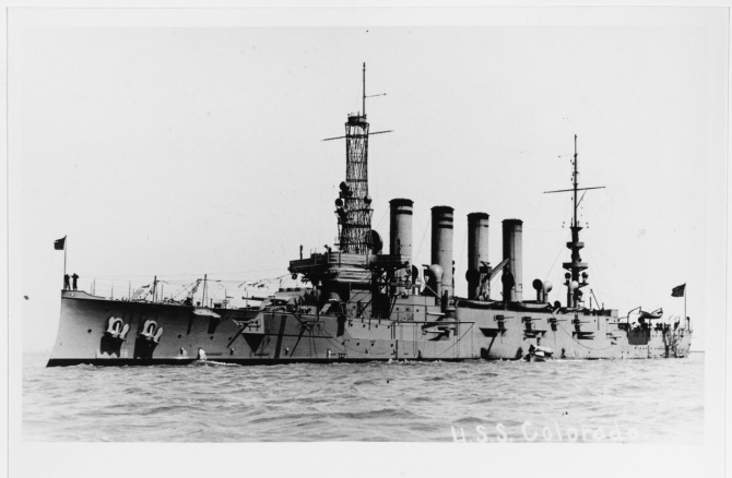 "Colorado in a harbor, probably on the Pacific Coast, circa 1916. The original image was printed on postal card (""AZO"") stock. (Donated by Thomas P. Naughton, 1973, U.S. Navy Photograph NH 92176, Photographic Section, Naval History and Heritage Command)"