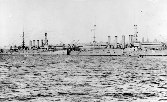 Pueblo and her consorts visit Montevideo, Uruguay (10–23 July 1917). From left to right, they are: either Pueblo or Pittsburgh (Armored Cruiser No. 4); and likely South Dakota (Armored Cruiser No. 9). (Courtesy of William H. Davis, 1976, U.S. Navy Photograph NH 84724, Photographic Section, Naval History and Heritage Command)