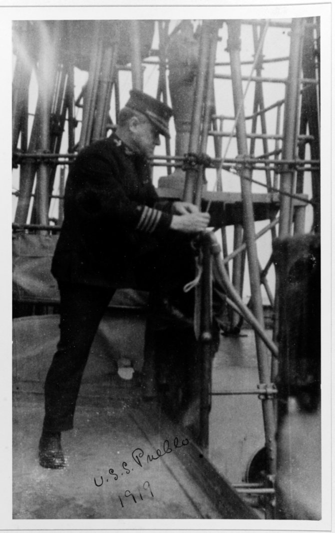 Capt. Frank B. Upham, Pueblo's commanding officer, keeps a close eye on the bridge of his ship, 1919. (Courtesy of the Naval Historical Foundation, Collection of Rear Adm. Upham, U.S. Navy Photograph NH 80539, Photographic Section, Naval History and Heritage Command)