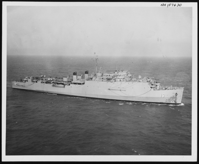 Comstock underway on 20 May 1951 overseeing the minesweeping operations which preceded the Royal Marine assault at Chinnampo. (U.S. Navy Photograph, Naval History and Heritage Command, NH 107630).