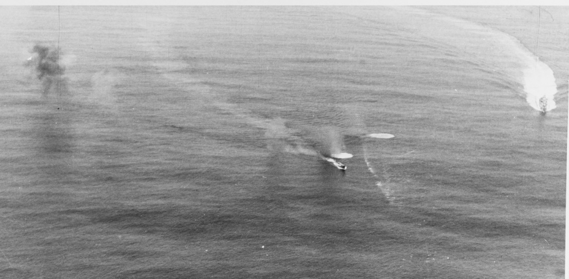 Corry (top right) approaching the doomed U-801. (U.S. Navy Photograph 80-G-222850, National Archives and Records Administration, Still Pictures Division, College Park, Md.)