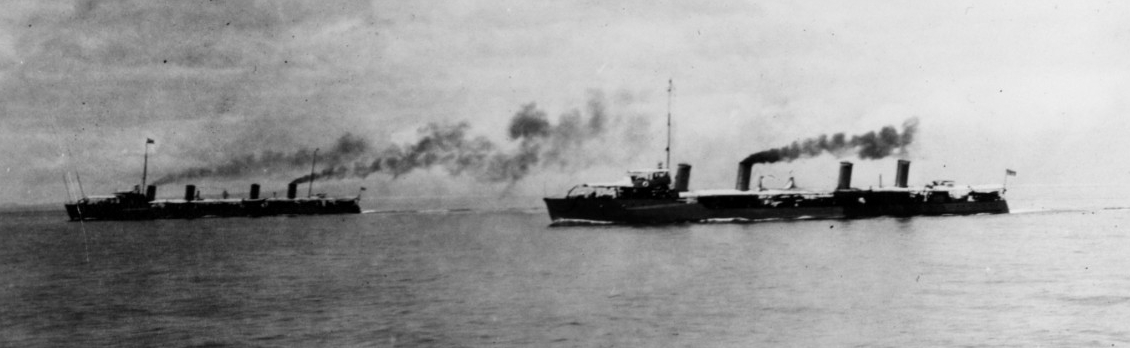 Dale and Chauncey (Destroyer No. 3) underway in Philippine waters, en route to Cebu, circa 1914-1916. (Naval History and Heritage Command Photograph NH 88586)