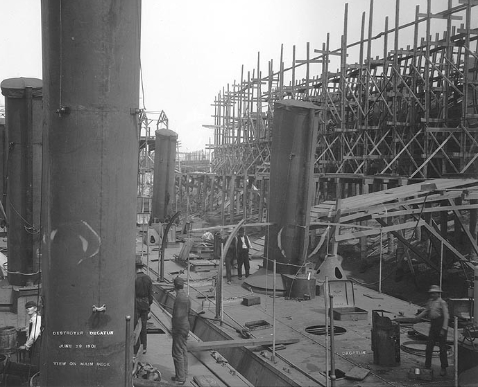 Dale and Decatur (Destroyer No. 5) fitting out at the William R. Trigg Co. shipyard, Richmond, Va., 29 June 1901. The photographer was standing on Dale's after superstructure, looking forward and to starboard, with Decatur at the right. (Naval History and Heritage Command Photograph NH 98173)