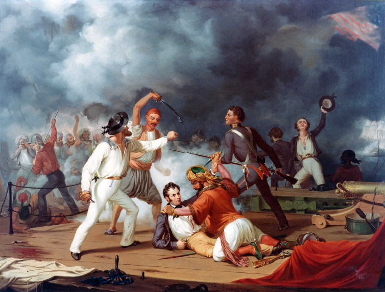 """Stephen Decatur's Conflict with the Algerine at Tripoli"" during the boarding of a Tripolitan gunboat on 3 August 1804. Oil over print on canvas, 30"" x 25"", by an unidentified artist, after Alonzo Chappell (1829-1887). Painting in the U.S. Naval Academy Museum Collection. Gift of Chester Dale, 1942. (Official U.S. Navy Photograph KN-10949)"