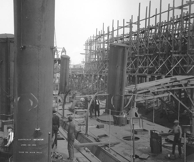 Dale (Destroyer No. 4) and Decatur fitting out at the William R. Trigg Co. shipyard, Richmond, Va., 29 June 1901. The photographer was standing on Dale's after superstructure, looking forward and to starboard, with Decatur at the right. (Naval History and Heritage Command Photograph NH 98173)