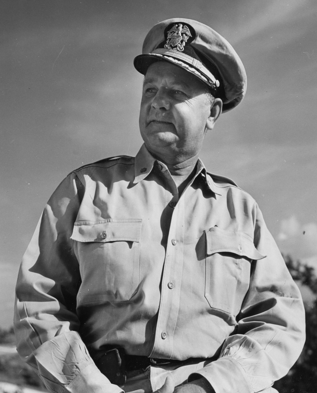 Cmdr. Sigurd Hansen, who received the Navy Cross for his performance of duty off Samar, is seen here at Guam, 20 June 1945. (U.S. Navy Photograph 80-G-338997, taken by CSP Jerome Zerbe, National Archives and Records Administration, Still Pictures Division, College Park, Md.)