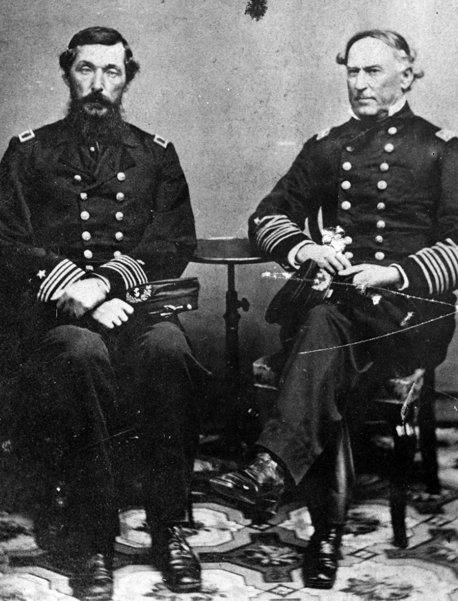 Rear Adm. David G. Farragut, Commander of the West Gulf Blockading Squadron, (right) with his Fleet Captain, Capt. Percival Drayton. Photographed circa August 1864. Courtesy of J.B. Williams. (Naval History and Heritage Command Photograph, NH 53683)