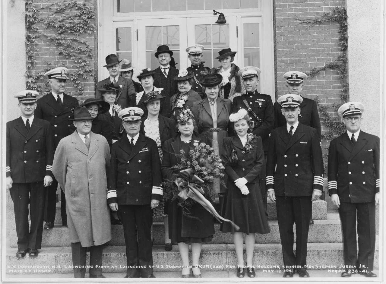 Drum's launching ceremony at the Portsmouth Navy Yard, 12 May 1941. Mrs. Beatrice M. Holcomb, Drum's sponsor, can be seen in the center of the photograph. (Naval History and Heritage Command Photograph NH 54571)