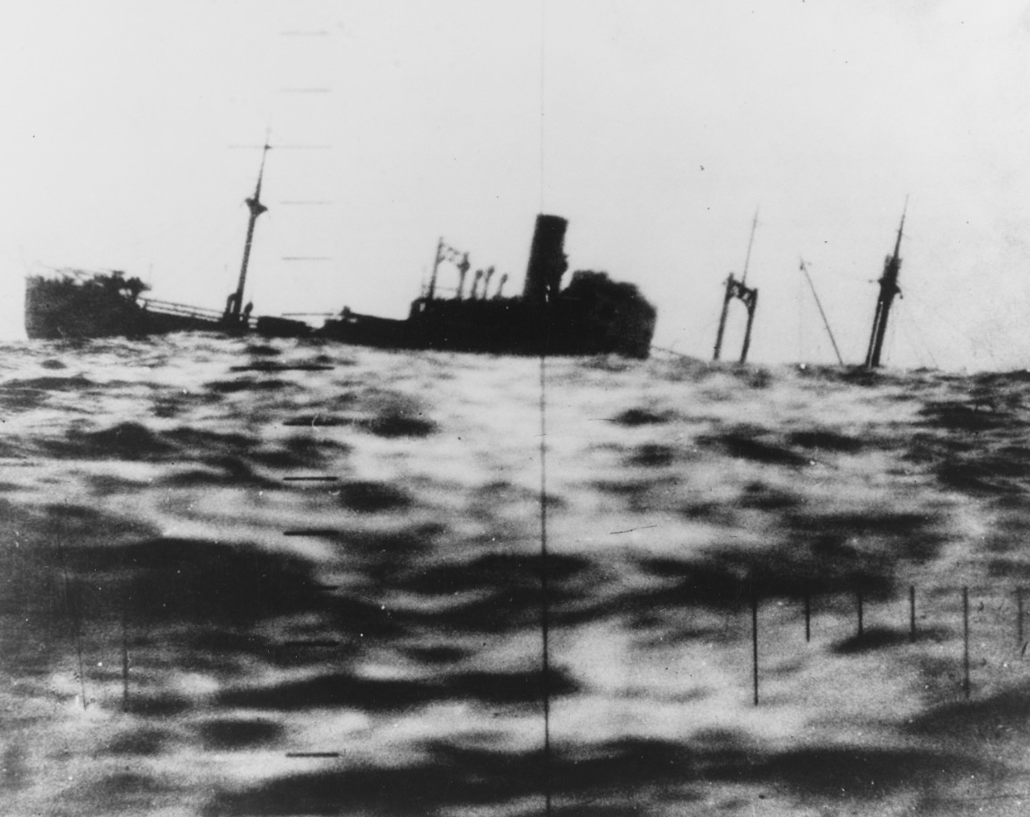 A Japanese cargo ship as observed through Drum's periscope. Photo released on 12 June 1945. Note: Ship may be either the Nisshun Maru or Taihaku Maru. (U.S. Navy Photograph 80-G-4903, National Archives and Records Administration, Still Pictures Division, College Park, Md.)