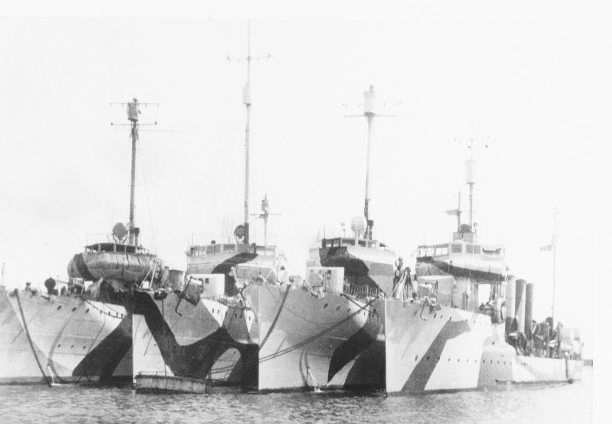 Destroyers moored at Brest, France, circa 1918. Right-hand ship is probably Ammen (Destroyer No. 35), second from left is Duncan. (Naval History & Heritage Command Photograph NH 100434)