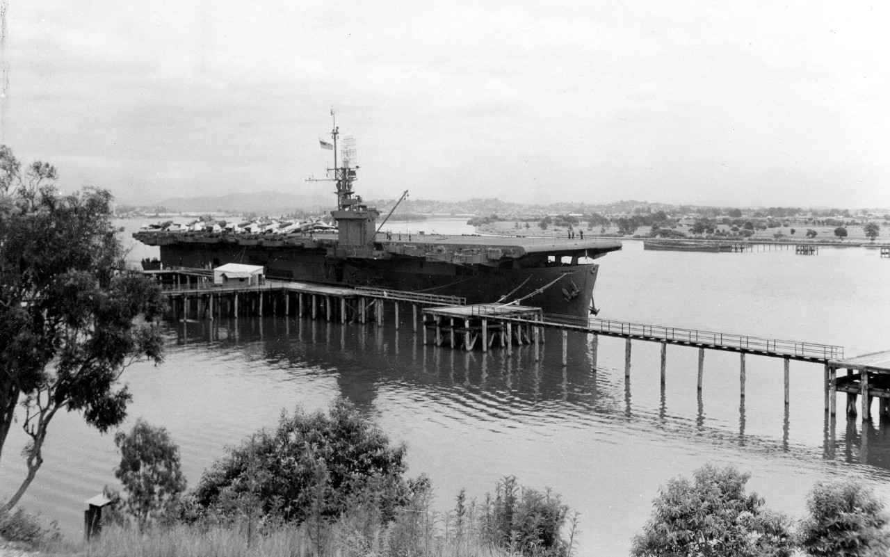 Fanshaw Bay moored at Brisbane, Australia, 10 February 1944. Note the P-47 Thunderbolts still parked aft. (U.S. Navy Photograph 80-G-364211, National Archives and Records Administration, Still Pictures Division, College Park, Md.)