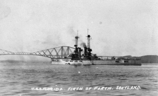 Florida lies in the Firth of Forth near the Forth Bridge at Rosyth, date unknown, Erma Myers Collection, Naval History and Heritage Command.