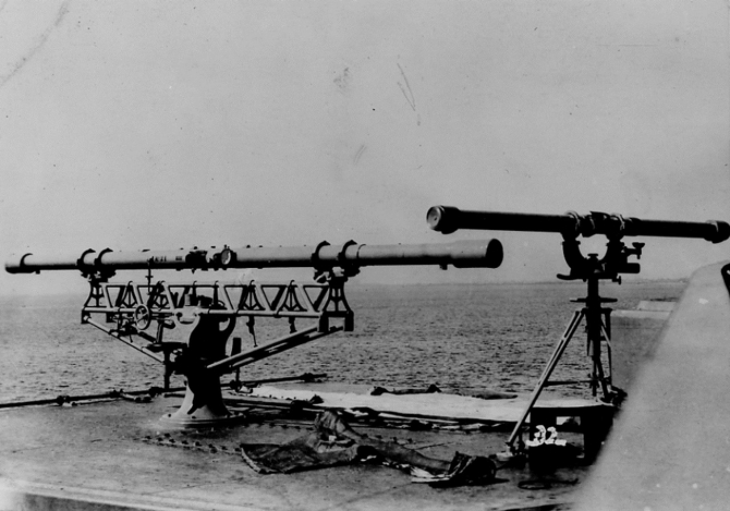 Rangefinders on the crown of one of Florida's main battery turrets. (U.S.  Naval History and Heritage Command Photograph)