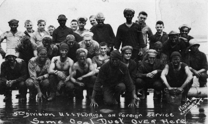 Crewmen of Florida's Fifth Division after coaling, date unknown, Erma Myers Collection, Naval History and Heritage Command.