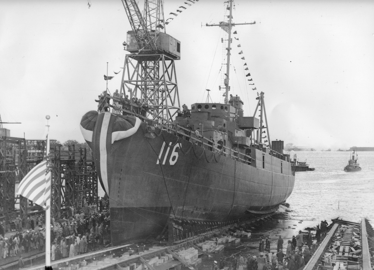 Francovich goes down the ways at her building yard, 5 June 1945. (U.S. Navy Bureau of Ships Photograph 19-LCM Box 145, National Archives and Records Administration, Still Pictures Division, College Park, Md.)
