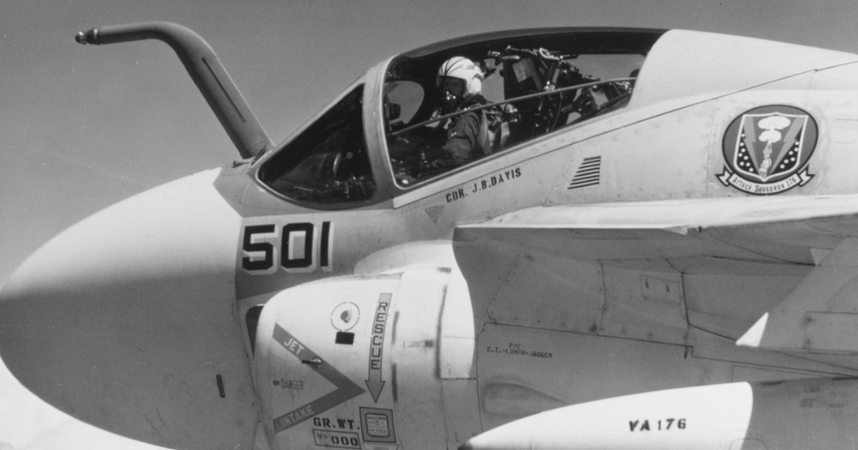 Cmdr. J. B. Davis of VA-176, his squadron insignia displayed just aft of the cockpit, prepares to launch in an A-6A Intruder, August 1969. The Navy reduced the ship's SCB 101.68 modernization but the work nonetheless proved to be a quantum leap forward in her strike capabilities. (U.S. Navy Photograph K-78926, National Archives and Records Administration, Still Pictures Division, College Park, Md.)