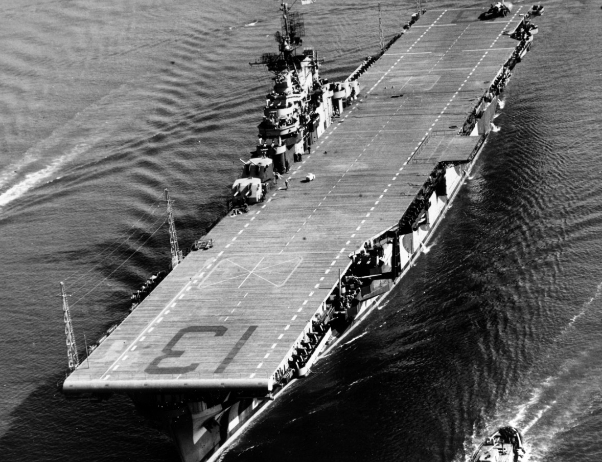 Franklin navigates the Elizabeth River, off Norfolk, Va., 21 February 1944. (U.S. Navy Photograph 80-G-224596, National Archives and Records Administration, Still Pictures Division, College Park, Md.)