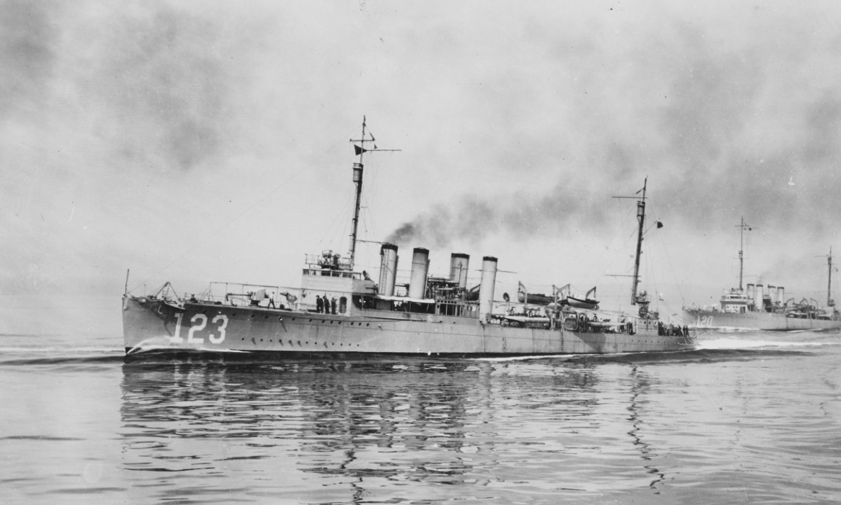 Gamble and Radford (Destroyer No. 120) steaming into Seattle, Wash., after the review of Pacific Fleet, 13 September 1919. (Naval History and Heritage Command Photograph NH 109514)