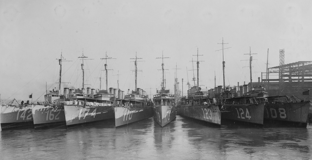 Gamble (second from right) nested with other destroyers of the Fleet at Mare Island Navy Yard in 1919. (Naval History and Heritage Command Photograph NH 42538)