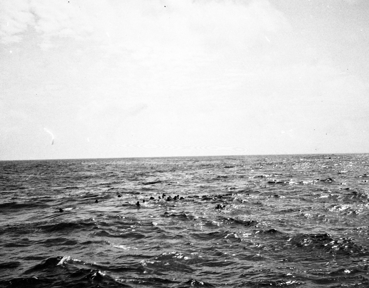 Survivors of U-515 await their rescue from the Atlantic, 9 April 1944. (U.S. Navy Photograph 80-G-228419, National Archives and Records Administration, Still Pictures Division, College Park, Md.)