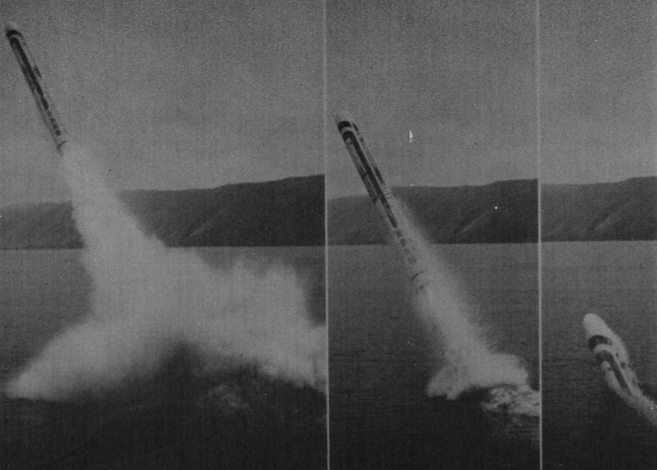 Guitarro launches a Tomahawk during one her many tests of the weapons system. (Guitarro Inactivation Ceremony Booklet, NHHC Archives)