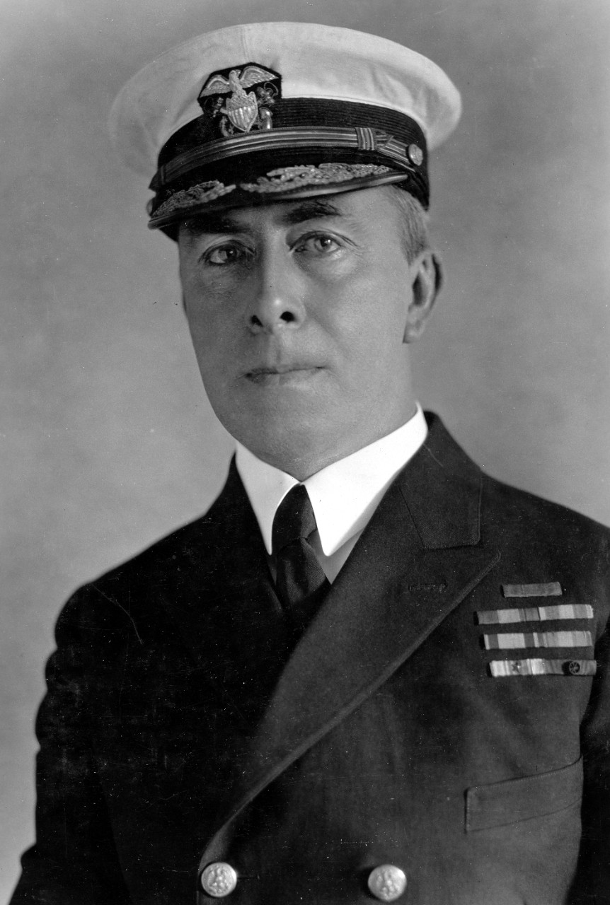 Rear Adm. Halligan, photographed in April 1928 at Naval Air Station (NAS), Anacostia, while serving as Chief of the Bureau of Engineering. (U.S. Navy Photograph 80-G-458976, National Archives and Records Administration, Still Pictures Division, College Park, Md.)