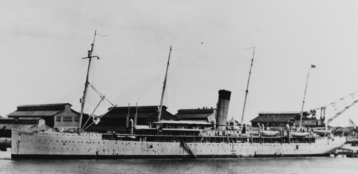 Hancock at the Pearl Harbor Navy Yard, Hawaiian Territory in the early 1920s, while serving as the yard's Receiving Ship. (Naval History and Heritage Command Photograph NH 104677)