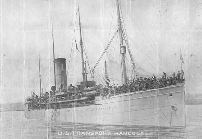 Hancock in harbor with marines crowding her decks, circa 1916. (Naval History and Heritage Command Photograph NH 104679)