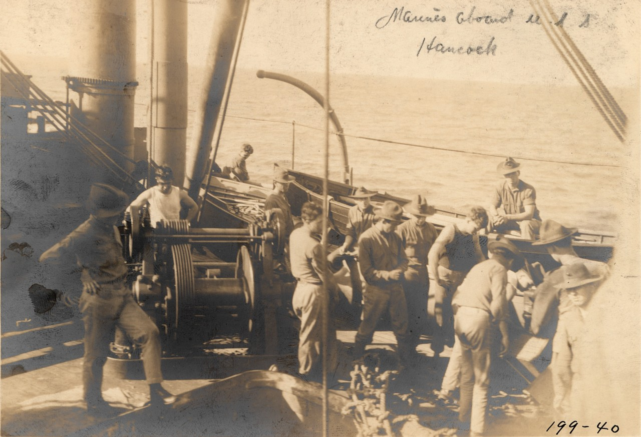 Marines embarked on board Hancock in 1914. Official U.S. Navy Photograph. (Naval History and Heritage Command Archives, Decommissioned Ships Files, Box 353, Hancock Photos Folder)