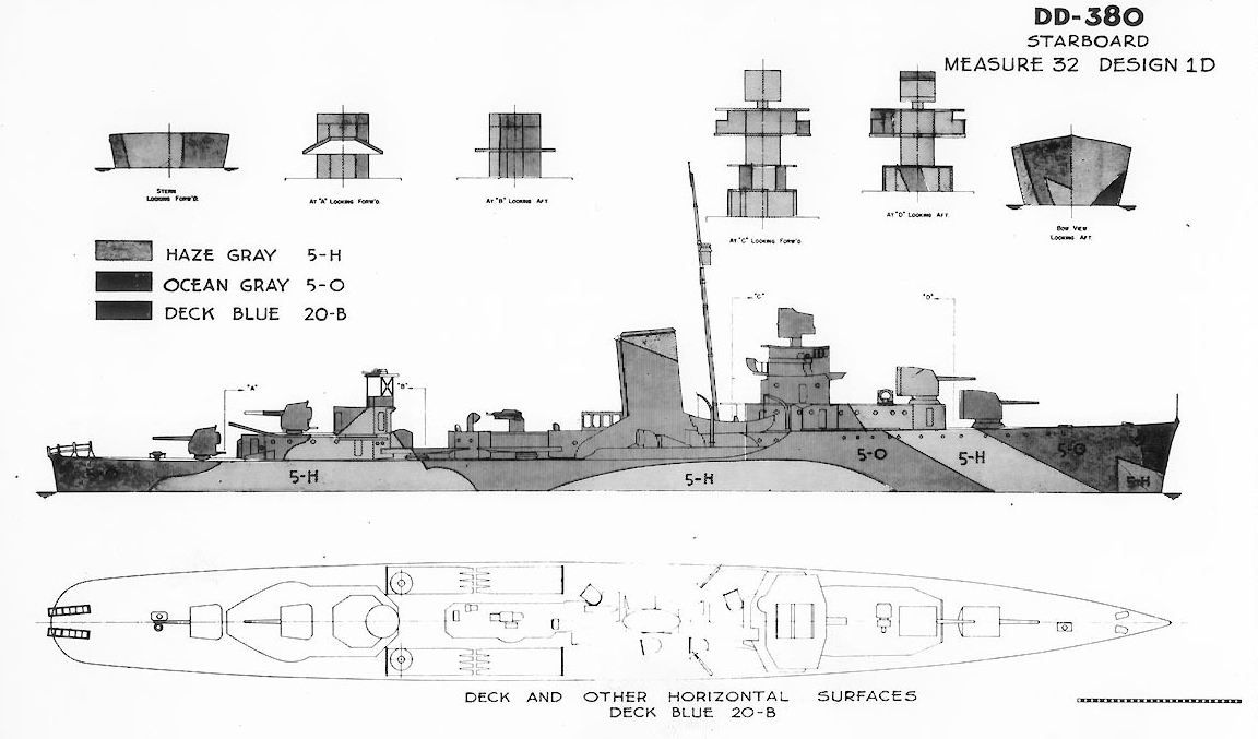 Camouflage Measure 32, Design 1D; this drawing prepared circa 1944 by BuShips for a scheme intended for Gridley-class destroyers. Ships known to have worn this pattern included Bagley, Helm, Mugford and Ralph Talbot. This plan shows the ship's starboard side, bow, stern, superstructure ends, and exposed decks. (U.S. Navy Photograph 80-G-150622, National Archives and Records Administration, Still Pictures Division, College Park, Md.)